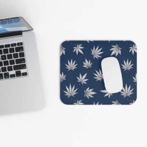 Marijuana Leaves Cool Design Dark Navy Blue Mouse Pad