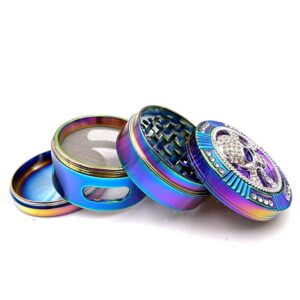 Stunning Skull Icon Design Neon Colored Weed Herb Grinder