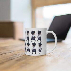 Stylish Uchiha Sasuke Chibi Style Art Pattern Ceramic Mug