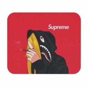 Supreme Blonde Girl Smoking Blunt 420 Red Mouse Pad