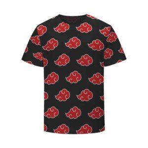 Team Akatsuki Red Cloud Symbol Pattern Black Kids Tee