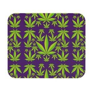 Vibrant Weed Marijuana Pattern Purple Gaming Mouse Pad