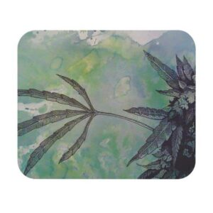 Water Color Painting Weed Art 420 Non-Slip Mouse Pad