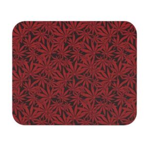 Weed Marijuana Leaves Awesome Red Pattern Mouse Pad