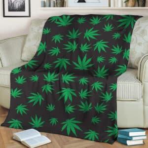 420 Weed Marijuana Doobie Kush Pattern Throw Blanket