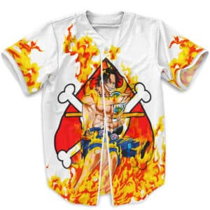 Awesome Fire Fist Portgas D. Ace White Baseball Uniform