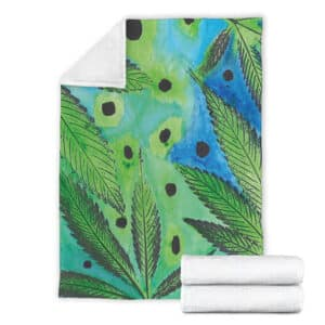Awesome Water Color Painting Weed Art 420 Fleece Blanket