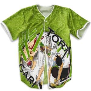 One Piece Roronoa Zoro Tora Gari Green Baseball Jersey