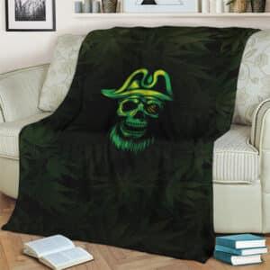 Badass Pirate Skull Marijuana Artwork Fleece Blanket