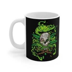 Badass Smoking Skull 420 Marijuana Design Ceramic Mug