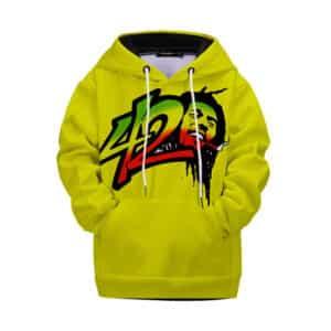 Bob Marley 420 Rasta Marijuana Art Yellow Kids Hoodie