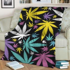 Colorful Marijuana Leaves Pattern Art Fleece Blanket