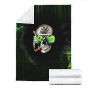 Cool Hipster Skull Smoking Cannabis Joint Throw Blanket