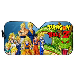 DBZ Super Saiyan Characters And Shenron Windshield Sun Shade