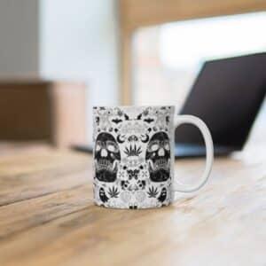 Dope Skull & Marijuana Doodle Artwork 420 Ceramic Coffee Mug