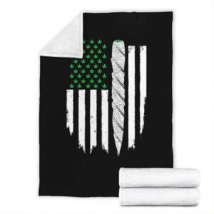 Dope Weed US Flag Joint 420 Marijuana Fleece Blanket