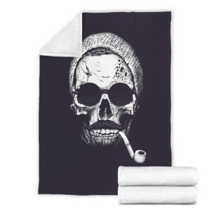 Hipster Skull Head Smoking Artwork Badass Fleece Blanket