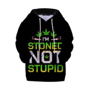 I'm Stoned Not Stupid Badass 420 Marijuana Kids Hoodie