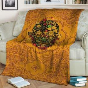 Mahatma Gandhi Skull Marijuana Leaf Pattern Fleece Blanket