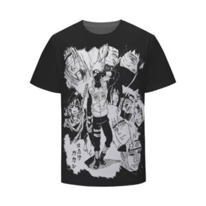 Naruto Characters Monochrome Art Black Kids T-Shirt