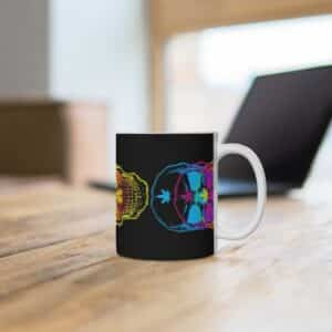 Psychedelic Vibrant Skulls Art Epic 420 Weed Coffee Mug