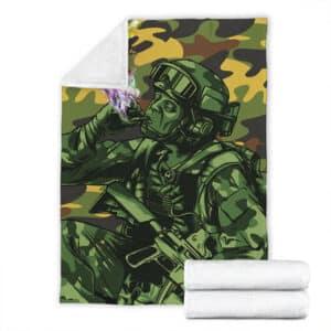 Stoner Soldier Smoking Marijuana Camouflage Throw Blanket