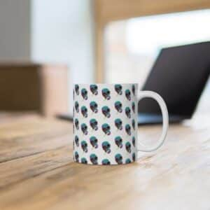 Trippy Skull Smoking Weed Joint Pattern Badass Coffee Mug