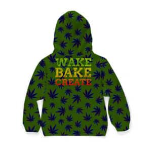 Wake Bake & Create Trippy Marijuana Pattern Cool Kids Hoodie