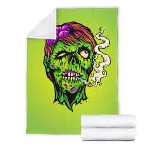 Zombie Lady Smoking Marijuana Joint Head Art Throw Blanket