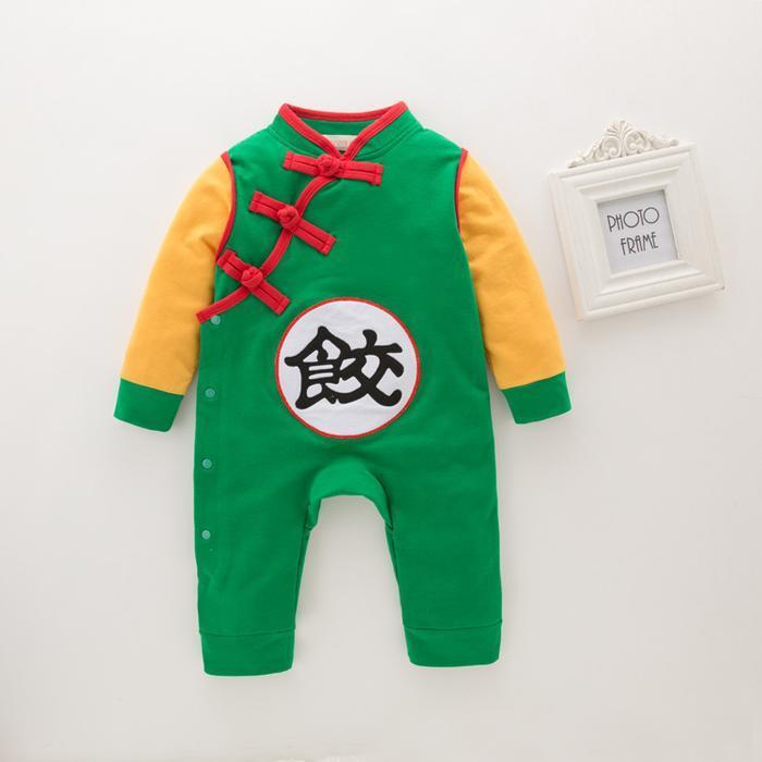 DBZ Long Sleeve Chiaotzu's Kanji Logo Cosplay Baby Jumpsuit