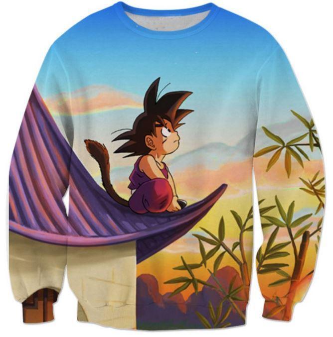 DBZ Cute Kid Goku Sitting Sky Full Print Sweatshirt