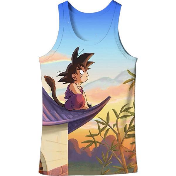 DBZ Cute Kid Goku Sitting Sky All Over Print Tank Top