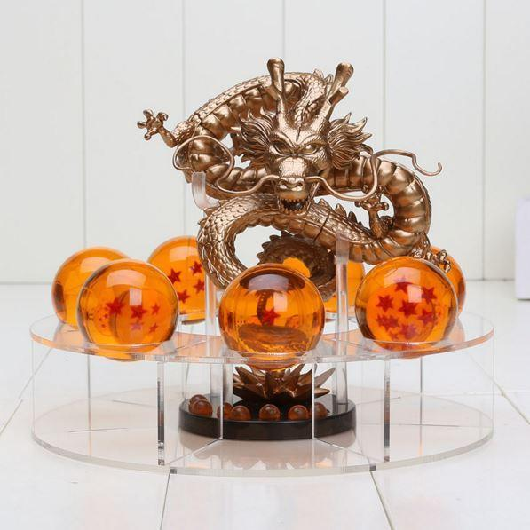 Dragon Ball Green & Golden Shenron 7 Crystal Balls Shelf Figure Set
