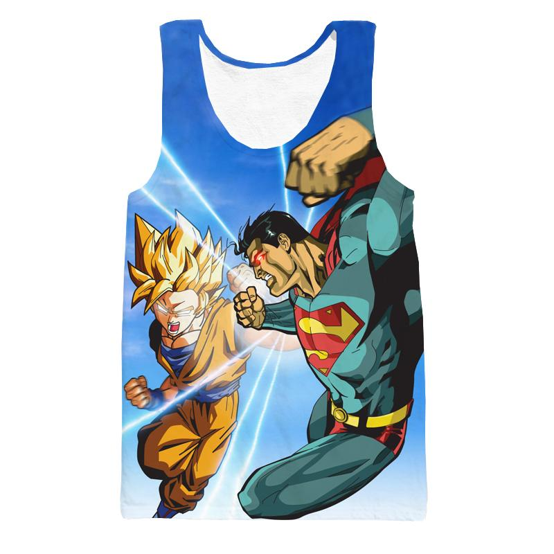 Super Saiyan Goku Versus Superman Battle 3D Tank Top