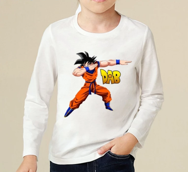 Son Goku Doing The Dab Dance Step Kids Long Sleeve T-Shirt