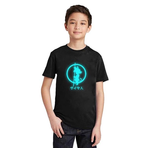 DBZ Shadow Kid Goku Shadow Glow In The Dark Kids T-Shirt